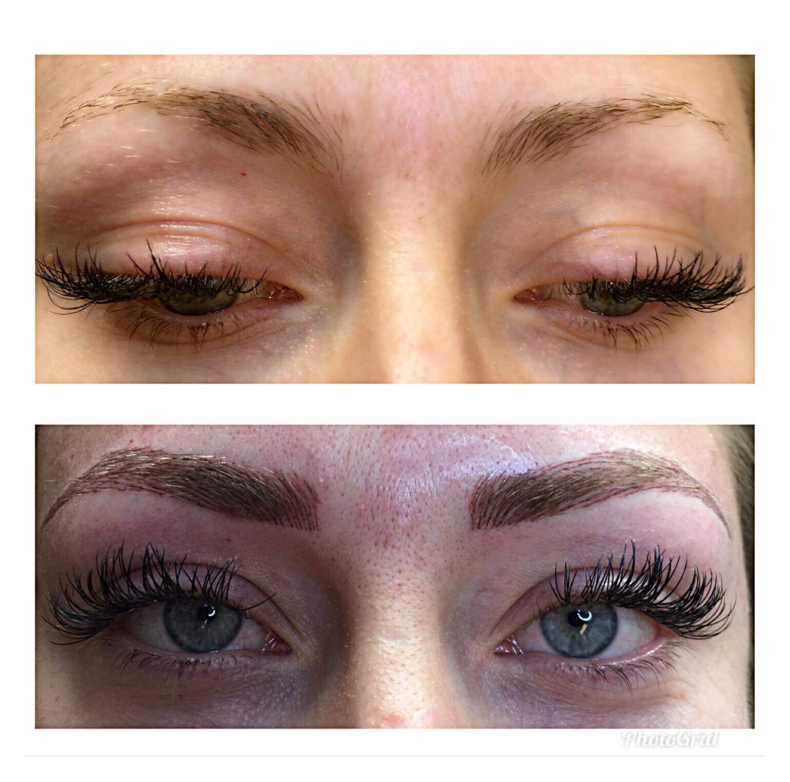 Tatovering av øyenbryn, før og etter.